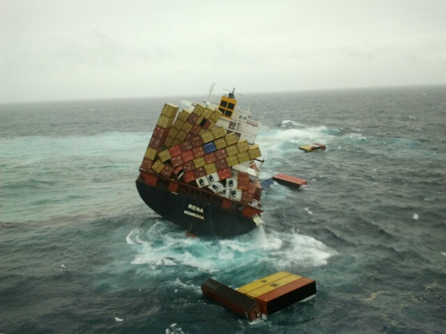 Rena losing containers as heavy swells wash her deck on the starboard side. Image credit: Maritime New Zealand