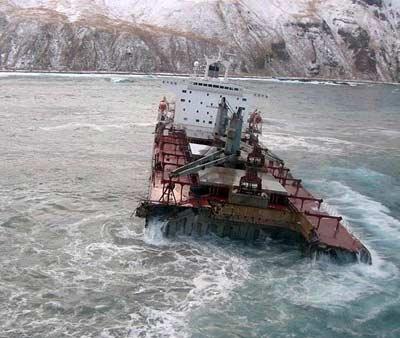 Photo of Selendang Ayu cargo ship in sinking in Alaska waters.