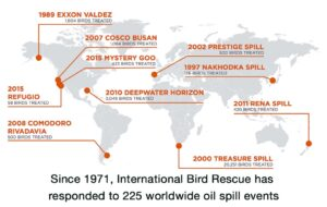 Image of the International Bird Rescue's map of major oil spill responses